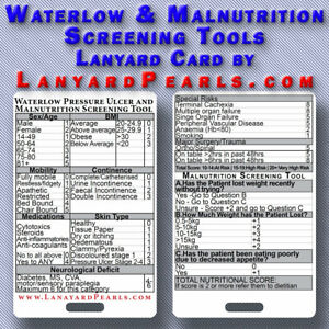 Waterlow Pressure Ulcer and Malnutrition Screening Tool -  Lanyard Card