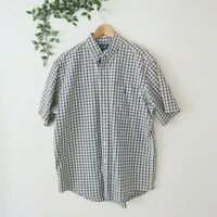Ralph Lauren Men's Custom Fit Short  Sleeve Button Front Shirt XL Green Plaid