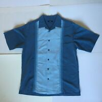 Alfani Mens M Blue Color Block SS Embroidered Button Up Shirt