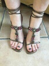 Ladies Stuart Weitzman Bronze Coloured Mid Heeled Sandals Size 3