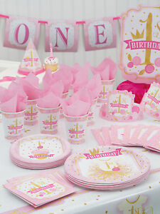 1st Birthday Pink & Gold Plastic Party Table Cover Girls Age 1 Party Tableware