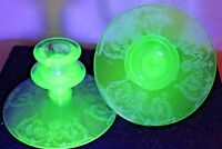 Pair of Green Central Glass BALDA etched candle-holders Elegant