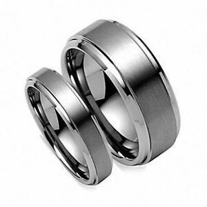 Free Engraving - 8MM/6MM Tungsten Carbide Brushed Step EdgeWedding Band Ring Set