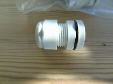 7x Cable Dome Gland 20mm IP68 Polyamide c/w Locknut White Large Aperture #407