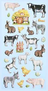 Softy Sticker Aufkleber Bauernhof Tiere Schwein Kuh Esel Tiere DIY selbstklebend
