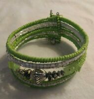 Vintage Bead Cuff Bracelet Multi Strands Lime Green & White Metal Accents