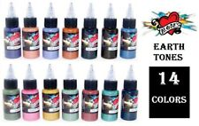 MOMS Tattoo Ink Earth Tone Color Set of 14 Bottles 1 oz Authentic Original USA