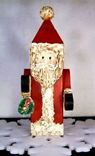 Santa Claus Upcycled Art Vtg Antique Painted Wood Folkart Finial Christmas Decor
