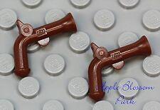 NEW Lego Lot/2 Minifig Brown FLINTLOCK GUN -Pirate Captain Pistol Soldier Weapon