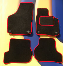 VW GOLF MK4  97 - 04 BLACK CARPET CAR  MATS WITH RED EDGE & 4 ROUND CLIPS B