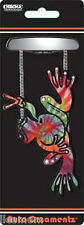 Peace Sign Hippie Frog Tie Dye Clear Crystals Rear View Mirror Auto Car Ornament