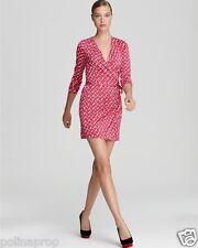 DVF Diane von Furstenberg Callista silk wrap dress Dash Weave Magenta US 8 $375