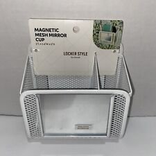 Locker Style Magnetic Mesh Mirror Stylish Utility Cup (White)