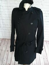 BURBERRY KENSINGTON MENS TRENCH COAT MID LENGTH BLACK SIZE S  RARELY WORN