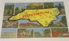Vintage 1940's linen postcard NORTH CAROLINA state map &  famous views tourism