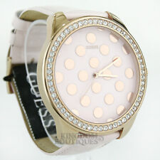 New GUESS Women's Watch Dotty Rose Gold Steel Pink Leather Crystals Montre NwT