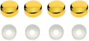 4 Gold License Plate Tag Screws Covers Caps Mounting Holder Frame Shield New