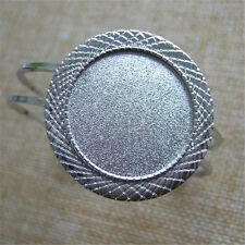 Silver Cuff Bangle Bracelet Settings Bracelet Blanks Base Fit 30mm Round Gem
