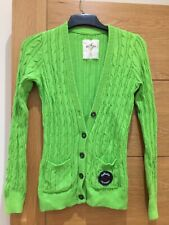 Hollister Bright Green Cable Long Cardigan Size Small V Neck Style Long Sleeves