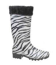 Womens Fashion Rain Boots Zebra Print Fur Trim Rubber Waterproof