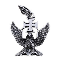 NEW Eagle Wing German WW2 Iron Cross Pendant Necklace Gothic Stainless Steel