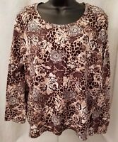 White Stag Womens Brown White Floral Leopard Shirt Top Blouse Size XL 16 18