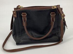 FOSSIL CLAIRE Med Large Black Leather Satchel Handbag SHB1929001 $248