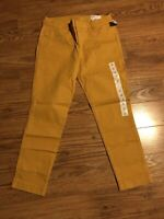 NWT OLD NAVY WOMENS MUSTARD YELLOW MID RISE PIXIE FULL LENGTH PANTS SIZE 10