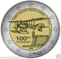 Pièce 2 euros commémorative MALTE 2015 - 1ier vol commercial de Malte - Rare