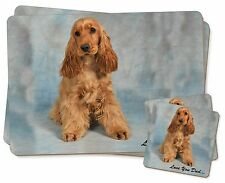 Gold Cocker Spaniel 'Love You Dad' Twin 2x Placemats+2x Coasters Set , DAD-185PC