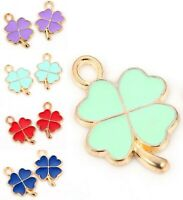 10 LEAF CHARMS//PENDANTS-ENAMEL//METAL-LEAVES//KEYRINGS-28MM-WINE-2CM-SILVER