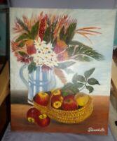 Tableau , huile sur toile , Nature Morte , signée