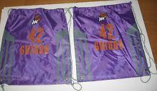 Two Phoenix Mercury Griner 42 WNBA Backpack Purple Drawstring Cinch Tote Sack