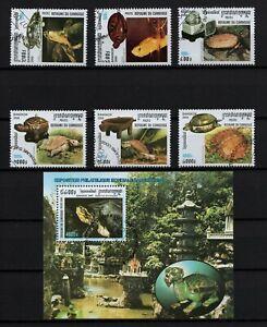 CAMBODIA, SCOTT # 1917-1923, USED CTO SET OF STAMPS & MINI SHEET BANGKOK TURTLES