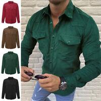 Men's Vintage Long Sleeve Corduroy Cord Shirt Casual Loose Chest Pocket Coat Top