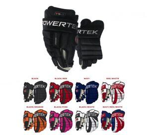 """Powertek V5.0 Hockey Gloves! All colors, 8"""" 9"""" 10"""" 11"""" 12"""" 13"""" 14"""" 15"""" SR JR"""