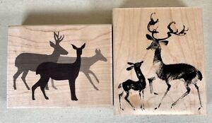 Penny Black Rubber Stamps Lot of 2~ Deer Gathering & Let's Play! Doe Buck