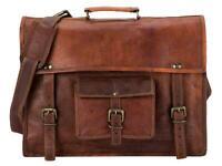 New best Men Real Vintage Brown Leather computer Messenger Shoulder Laptop S Bag