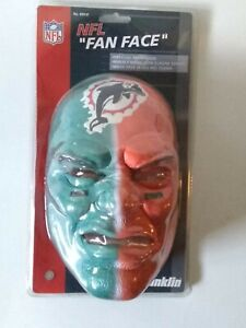 MIAMI DOLPHINS NFL Franklin Fan Face Mask, Green/Orange Color. One Size Fits All