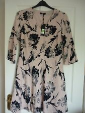 AUTOGRAPH MARKS & SPENCER PINK BLACK FLORAL SKATER DRESS UK 12, EUR 40, US 8. BN