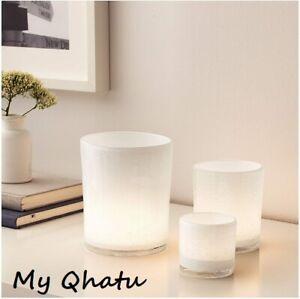 IKEA BLANDANDE Handmade White Glass Candle Holder or Vase Set of 3 NEW