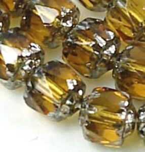 25 Czech Antique Style Octagonal Cathedral beads - Silver Medium Topaz
