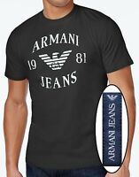 NWT Armani Jeans Graphic Tee Crew Neck Logo T-Shirt Size L in Dark Greenish Gray