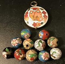 VINTAGE CLOISONNE FLOWER BEADS AND BUTTERFLY PENDANT