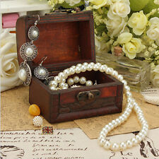 Vintage Small Metal Lock Jewelry Treasure Chest Case  Holder Handmade Wooden Box