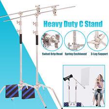 Heavy Duty C-Stand x2 3m Century Boom Arm Steel Photo Studio Light Stand Grip UK