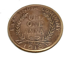 EAST INDIA COMPANY UK ONE ANNA 1818 COPPER MAHALAKSHMI GANESH ANTIQUE OLD COIN