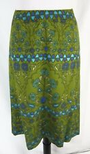 Talbots Woman Skirt Plus size 20W Green Blue Silk Knee Geometric Modest