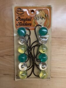 Vintage Goody Twin Bead Ponytail Holders Green Yellow Clear Large Pack Of 6 NRFB