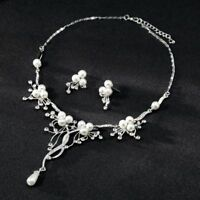 Crystal Pearl Flower Waterdrop Tassel Necklace Earring Wedding Jewelry Set